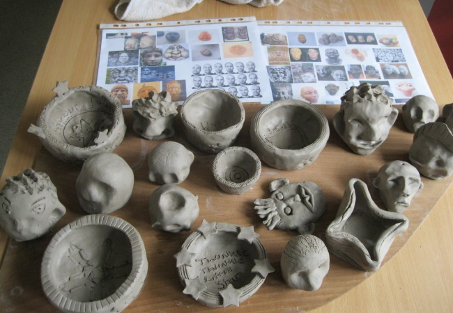 clay work with young people and staff at Plymouth Foyer